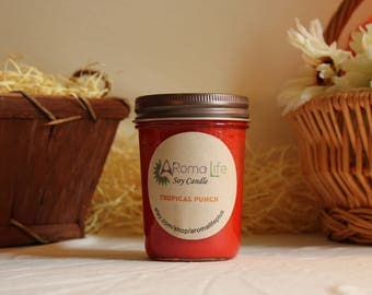Single 8 OZ Tropical Punch AromaLife Soy Candle, Handmade, Handpoured, Handcrafted, Tropical Candle, Tropical Scented Candle