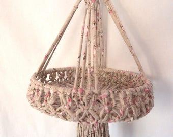 Basket fabric macrame hanging (fruit, toys...)