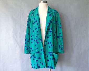 20% off using coupon! vintage polka dots jacket/blazer/silk jacket/silk blouse/silk blazer women's size M/L