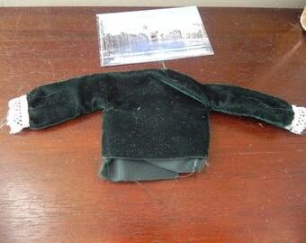 bodice Green Velvet for doll size 13 cm