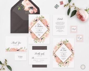 Rose Gold Wedding Invitation, Floral Wedding Invitation, Printable Wedding Invitation, Wedding Invitation Set, Wedding Invitation Suite #PRG