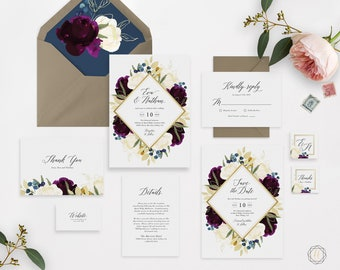 Burgundy Wedding Invitation, Floral Wedding Invitation, Printable Wedding Invitation, Wedding Invitation Set, Wedding Invitation Suite, #PNG