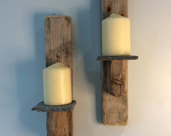 Driftwood Candle Sconce Pair