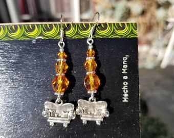 Couch Tour, Dangle Earrings, Amber, Faceted Rondelle, Crystal, Sparkly, Silver
