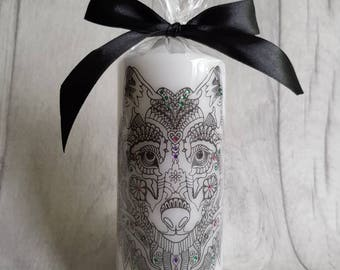 Hand Printed Wolf design candle with added coloured rhinestones