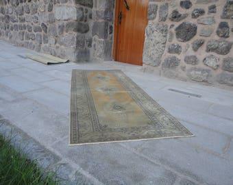 Turkish area rug,Vintage Turkish rug,muted colors rug,living room rug,low pile rug,wool rug,hand made area rug 85 x 35 inches,boho rug !!!