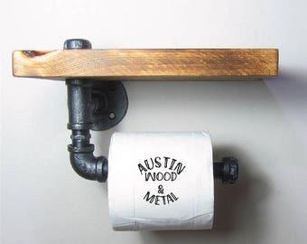 Black Pipe Toilet Paper dispenser (In 4 styles) industrial look, bathroom decor, dispenser, tp holder, rustic, roll, plumbing pipe, black
