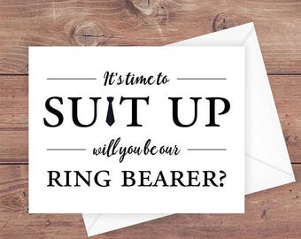 will you be our ring bearer card - it's time to suit up - suit up ring bearer - funny ring bearer card - greeting card download - PRINTABLE