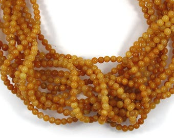 Genuine Yellow Chalcedony, 4mm Smooth Round Bead in Strand, 95 beads, Drilled Chalcedony, Plain Beads, 15 inches strand, Natural Gemstone