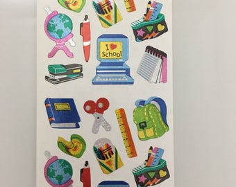 Vintage Sandylion School Supply Stickers. Globe, Computer, Notebook, Crayons, Pencils. Receive 3 Squares