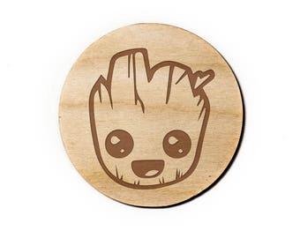 Baby Groot Engraved Birch Coasters