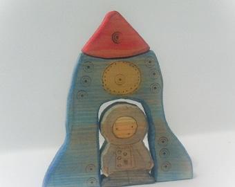 Astronaut & rocket. Waldorf Woodden toy.