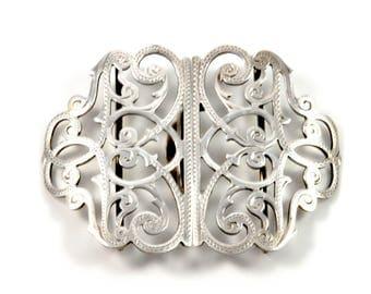 antique Victorian sterling silver nurses belt buckle by Adie and Lovekin