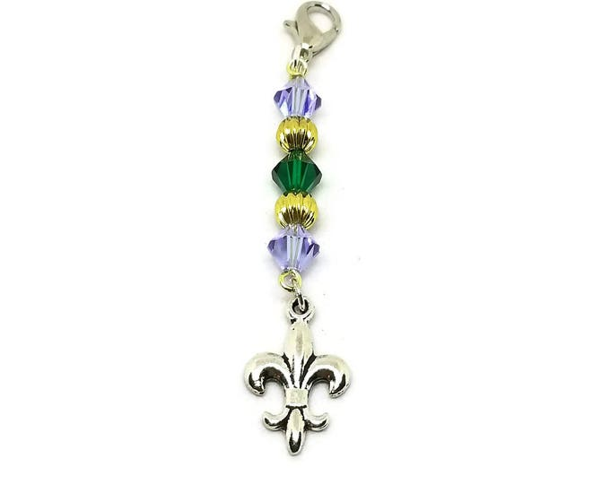 Fleur De Lis Purse Charm, Mardi Gras Zipper Pull, Unique Birthday Gift, Stocking Stuffer, Gfts Under 5, One of a Kind Gift