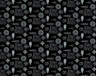 Black Lord Of The Rings Symbols Lotr Digitally Printed from Camelot Fabrics 242000005J-2 cotton fabric by yard metre quilting camelot lotr