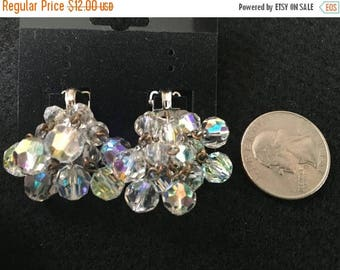 SALE Vintage 50s Laguna Clip On Earrings with Cluster of Clear Beads