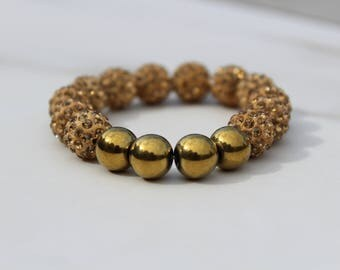 Bold Gold Rhinestone Pave Bracelet with Metal Focal.