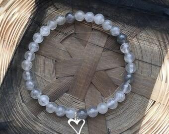 Grey Quartz Sterling Silver Heart Beaded Bracelet