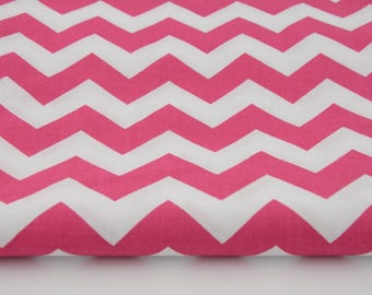 Fabric 100% cotton 50 x 160 cm, cotton zig zag chevron patterned pink 100% by the yard, fabric