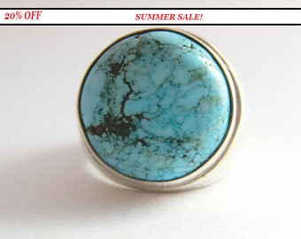 Sterling silver turquoise ring - Blue stone - Turquoise ring - Gift idea for men and women