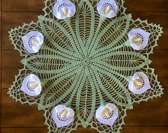 Lily Crochet Doily - Peace Lily - Lace Doily - Spring Decor - Farmhouse Decor - Handmade Doilies - Vintage Home Decor - Wedding Gift