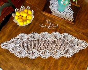 French Country Table Runner - Mantle Scarf - Crochet Table Runner - Wedding Gift - Lace Doily - Farmhouse Decor - Dresser Scarf