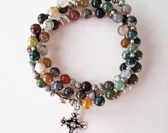 Indian Agate Stretch Rosary Bracelet