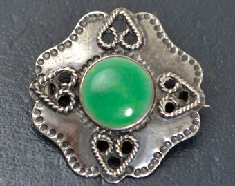 Arts & Crafts STERLING SILVER and Green Enamelled Ceramic (Ruskin?) Heart Brooch / Pin