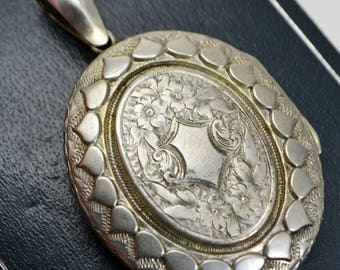 Antique Large Engraved DAY & NIGHT Double Sided / Reversible LOCKET - Victorian