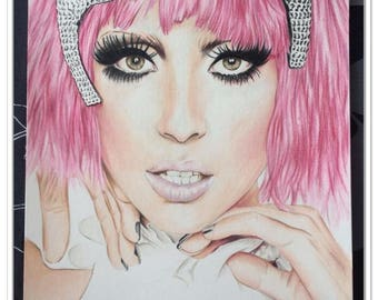 Portrait of ° ° Lady Gaga ° ° with colored pencils