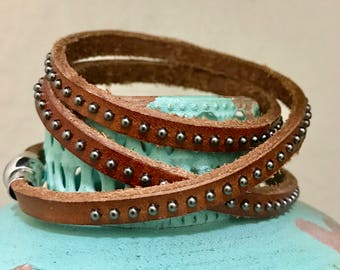 Leather Beaded Bracelet with Stainless Steel Closure