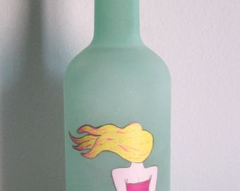 Hand-painted Teal Sea Glass Decorative Bottle, featuring a Mermaid