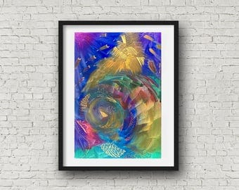 "Original abstract acrylic painting on canvas panel board 24 x 35cm (10 x 14""), UNFRAMED, Deep Sea 2, colourful and vibrant artwork"