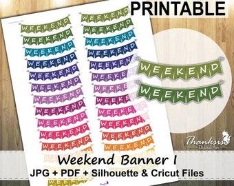 50% OFF SALE Weekend Banner Printable Planner Stickers, Erin Condren Planner Stickers, EC Printable Stickers, Weekend Banner - Cut Files