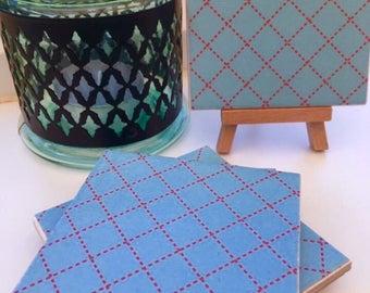Ceramic Coasters- Blue Square Design