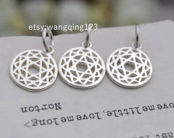 3 pcs sterling silver triangle round charm pendant geometry , NR9