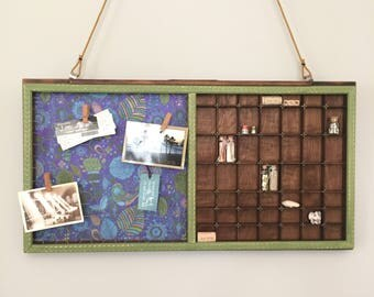 Vintage Letterpress Drawer Message Center #22 - Wedding gift, Housewarming gift, Vintage Decor, Cottage Decor, Rustic Decor, Farmhouse Decor