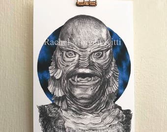 Creature from the Black Lagoon, universal monster, 1950s, old Hollywood, vintage, sea monster, portrait, print, art print