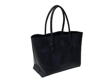 Big shopper black/leather bag used look/black Ledershopper leather bag business shopper leather vintage-style, handmade