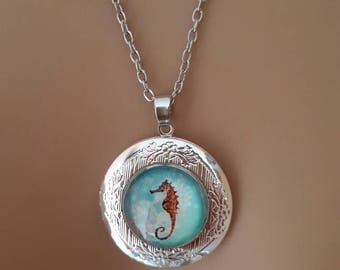Lovely silver seahorse locket pendant necklace