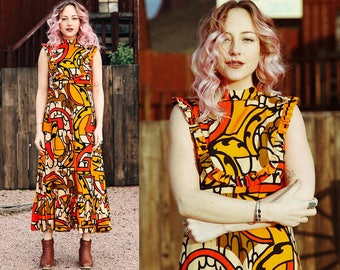 1970s Graphic Orange Sleeveless Maxi Dress
