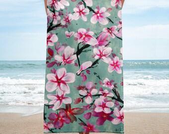 Watercolor Blossoms, Beach Towel