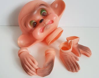 Vintage Crying Monkey Doll Head with Hands and Feet, DIY, Craft Supplies