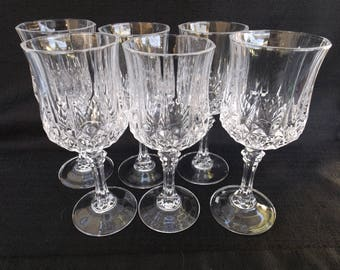 Six Wine Glasses in Longchamp (Clear) by Cristal D'Arques-Durand