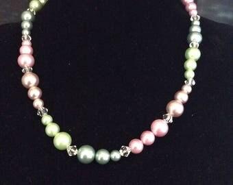 Faux multi colour pearl necklace