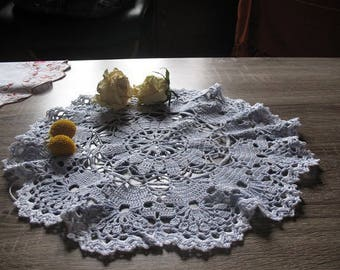 BICOLOR DOILY crocheted thread cotton 32cm diameter