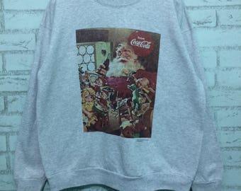Rare vintage 1993 cocacola crewneck sweatshirt nice design large size collection item