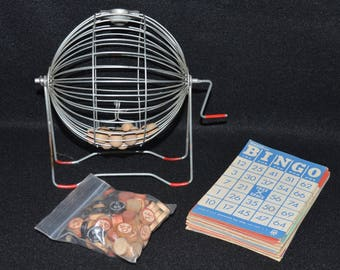 Bingo Game Set, Bingo Metal Cage, Bingo Spinner, Bingo Cards, Wooden Bingo Balls, Bingo Set, Vintage Bingo, Bingo Tokens, Wire Bingo Cage