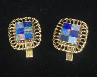 Men's Vintage 14K Yellow Gold & Mosaic Australian Opal Cuff Links YG Checkered