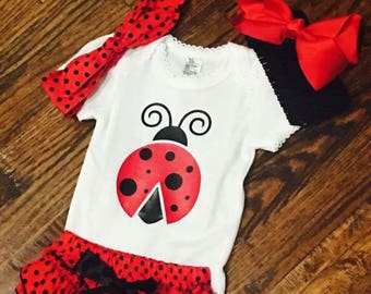 Lady bug baby outfit. Baby girl  outfit.  Lady bug onsie, red/black polka dot bloomers, red/black tutu, Ladybug birthday outfit